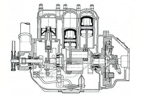 Il V4 della DKW era particolare in quanto dotato di una pompa di lavaggio alternativa per ogni bancata di cilindri e di un sistema di lubrificazione con olio nella coppa
