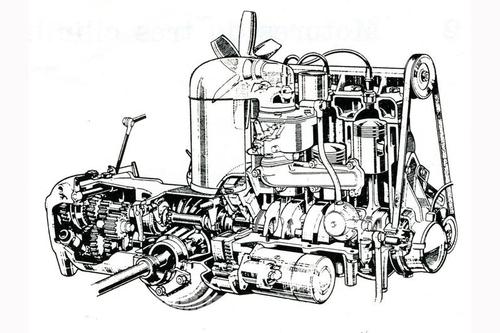 Questo spaccato mostra chiaramente la lineare struttura del tricilindrico DKW degli anni Cinquanta e Sessanta. Il raffreddamento era a termosifone (senza pompa) e le parti mobili erano sette soltanto!