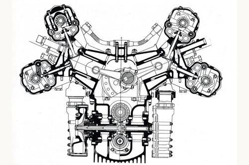 L'unica vettura di Formula Uno a utilizzare il compressore centrifugo a comando meccanico (nella sezione si vedono chiaramente le due giranti, ai lati del basamento) è stata la sfortunata BRM di inizio anni Cinquanta