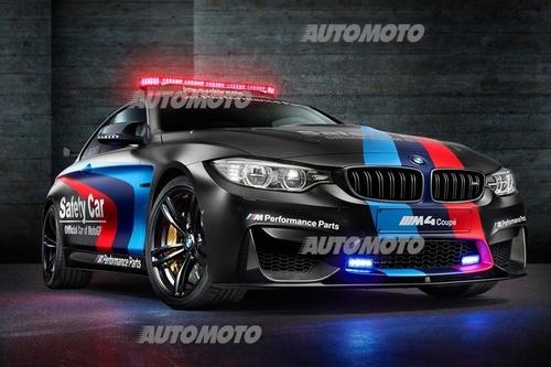 La splendida safety car approntata dalla BMW per il mondiale MotoGP è una M4 con motore biturbo a sei cilindri in linea di 3000 cm3, in allestimento speciale. Di particolare spicco è l'adozione di un sistema di iniezione di acqua
