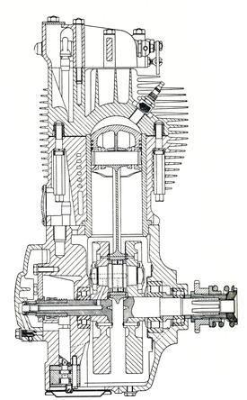 Sezione del motore BSA DB 32, versione di 350 cm3 della Gold Star. Si possono notare i tre cuscinetti di banco (due a rulli più un terzo, di minori dimensioni, a sfere) e l'albero a gomito in cinque parti